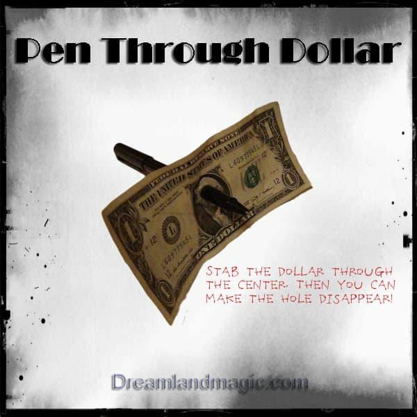 Pen through Dollar Bill Trick