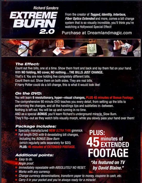 extreme burn 2.0 backside cover information